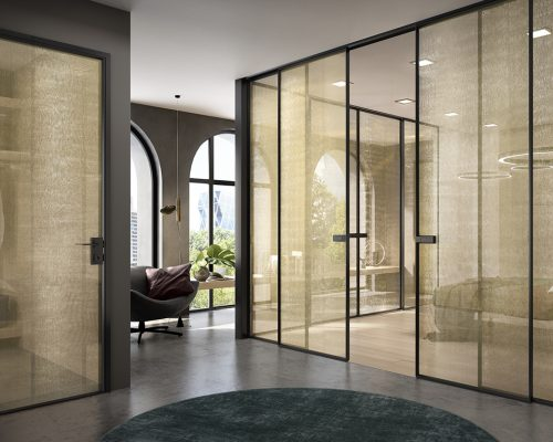 Ambiente con Porte in vetro RETE GOLD Garofoli