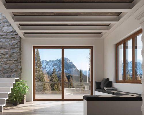Portafinestra-clima-plus-serramento-legno-Berneschi-Infissi Arezzo